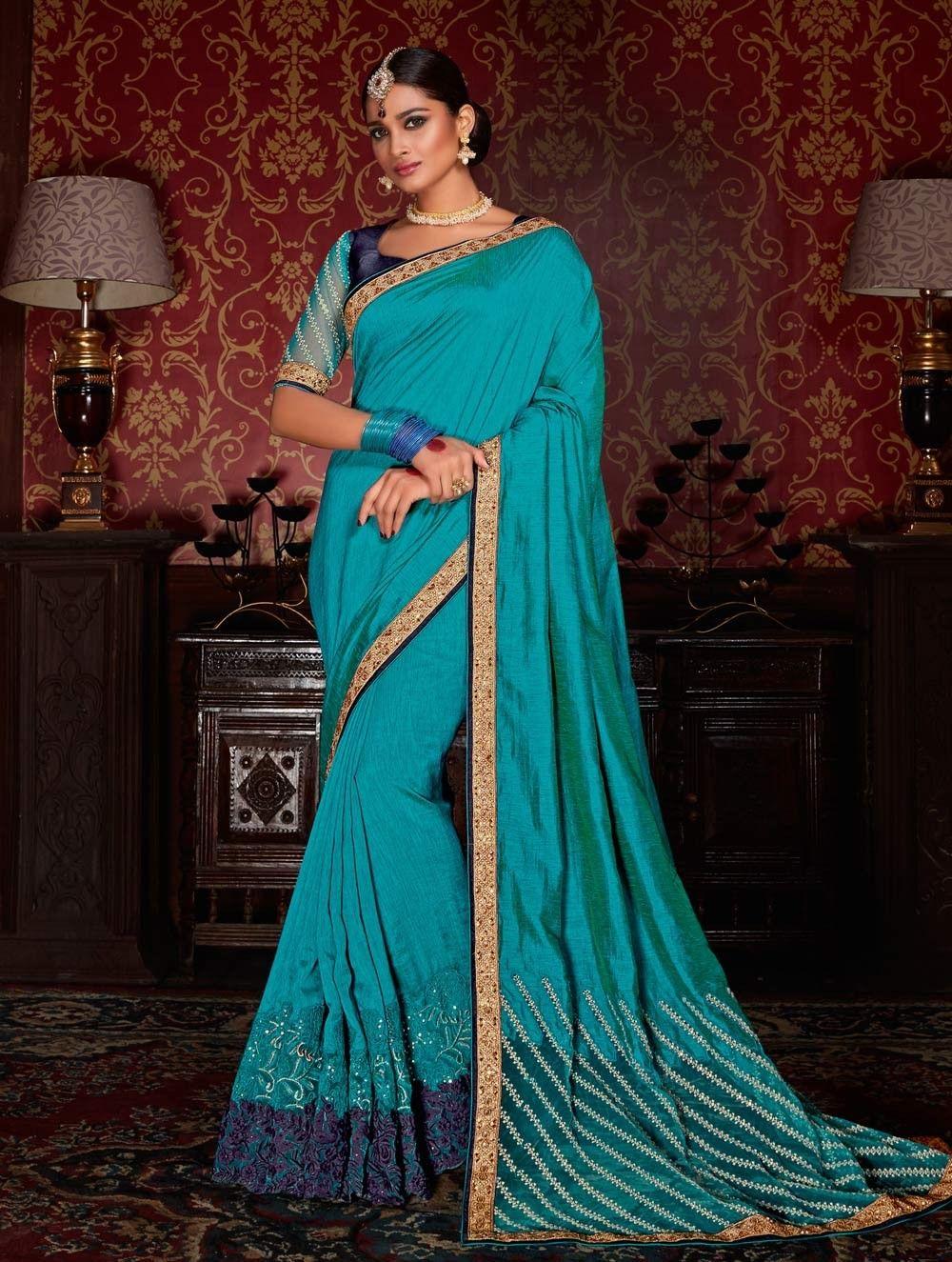 Tiffany Blue & Red half and half designer Indian saree in banarasi ...