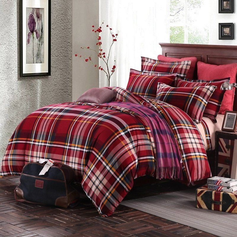 Personalized Burgundy Red Green And Beige Tartan Plaid Print Preppy Style Full Queen Size Durable Cotton Col Bedding Sets Dorm Bedding Sets Plaid Bedding Sets