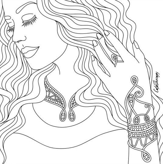 Coloring pages for adults app ~ Pretty Lady | Color Therapy App. Try this app for Free ...