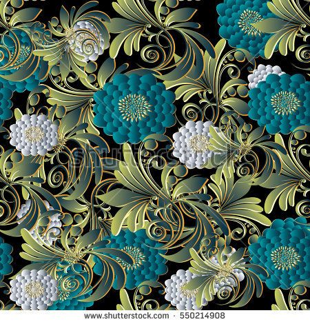 Bright Modern Floral 3d Seamless Pattern Background Wallpaper Illustration With Vintage Decorative White And Blue Surface Flowers Green Leaves Luxury