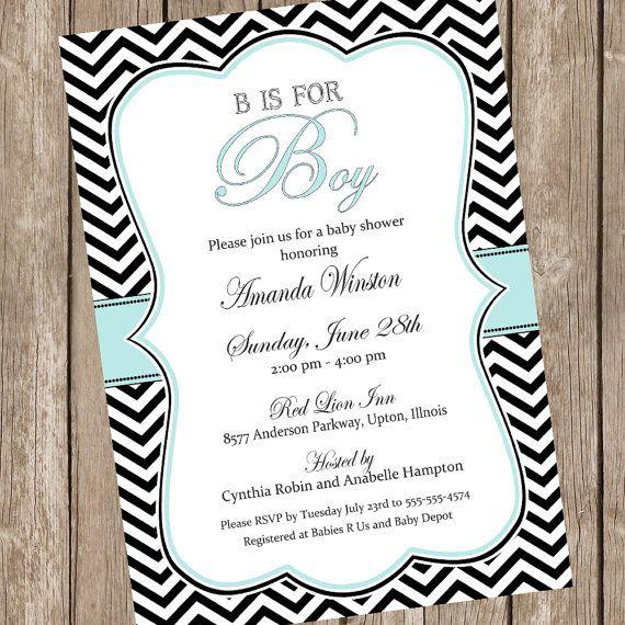 b is for boy elegant baby shower invitation, boy baby shower, Baby shower invitations