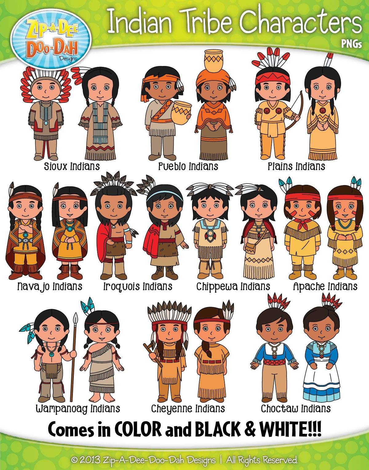 Native American Tribe Characters Clipart Bundle Zip A Dee