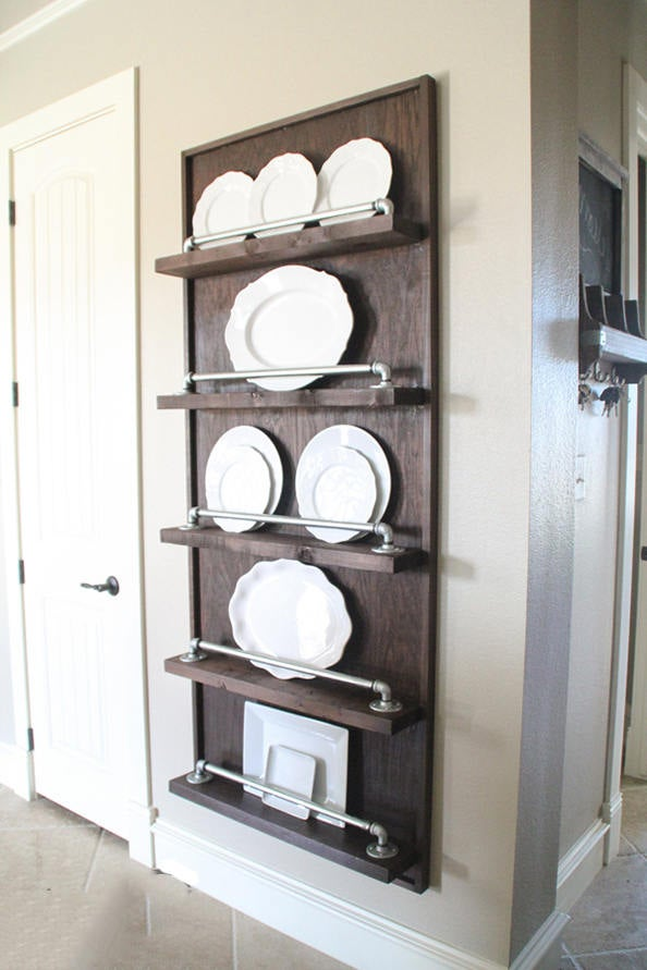 Industrial Pipe Plate Rack | Plate Rack | Plate Display | Rustic Kitchen | Industrial Kitchen | Kitchen Storage | Kitchen #plateracks