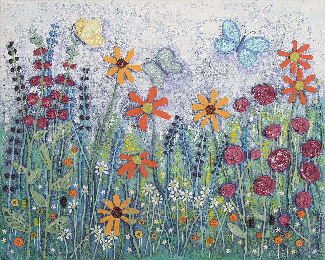 Butterfly Garden - mixed media on a 20 x 16 inch canvas (original sold)