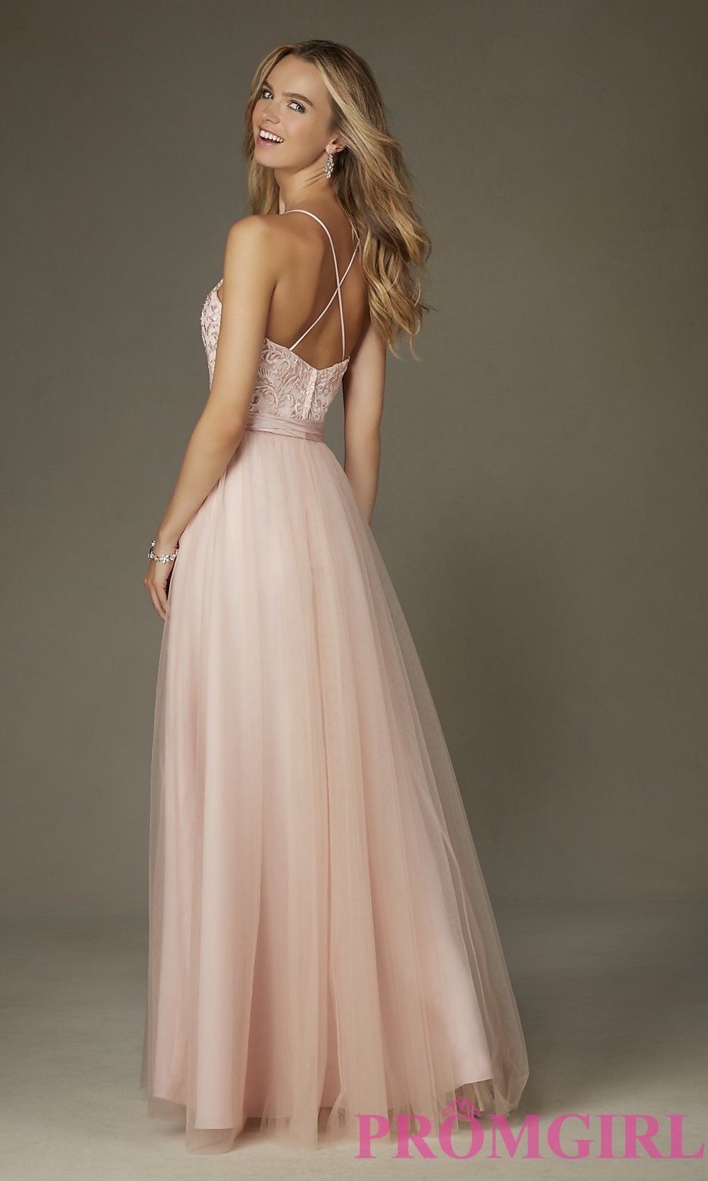 Image of embroidered long Mori Lee prom dress with bow Back Image ...