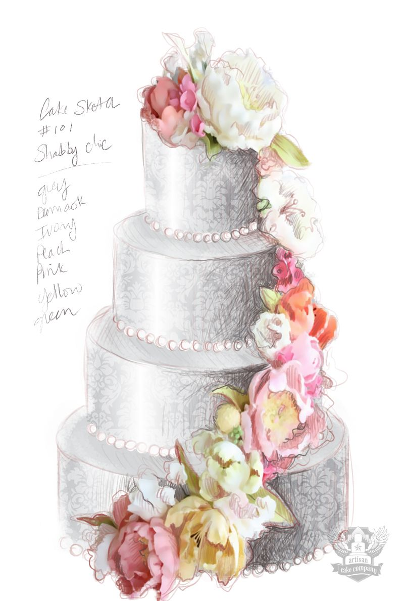 Shabby Chic Wedding Inspiration Cake Drawing Cake Sketch