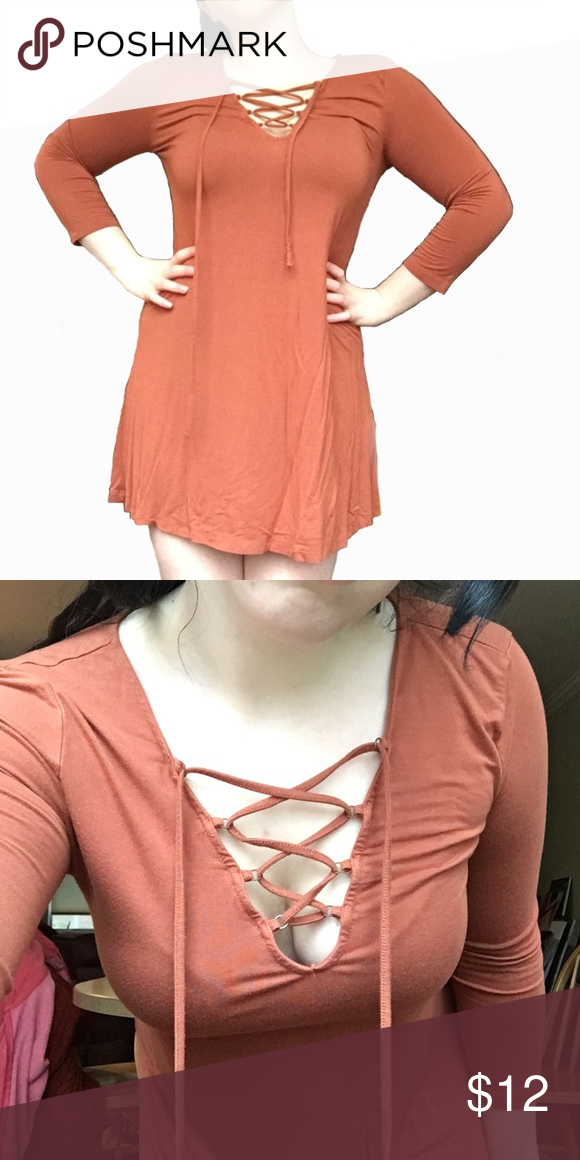 Orange Criss Cross Dress ORANGE DRESS WITH CRISS CROSS NECK Size  M Color   Burnt bd8fa013c