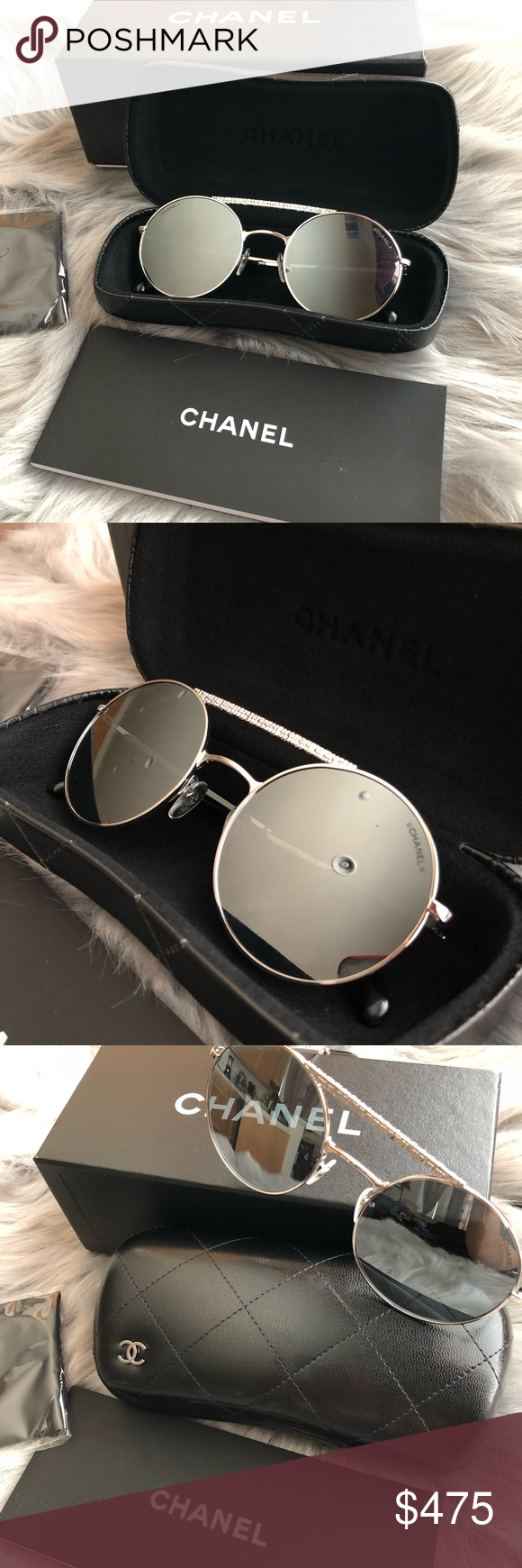 9fbe92d6339d ❤ ❤️Brand New Authentic Chanel Mirrored Sunglasses ❤ ❤️Brand New❤  ❤️Authentic Chanel 53mm Mirrored Round Sunglasses.