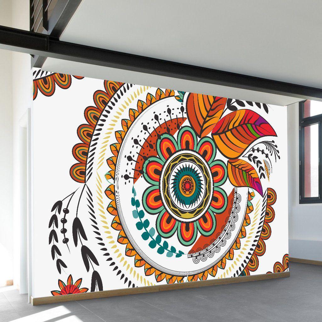 Autumn Mandala Wall Mural Mural Wall Art Mandala Wall Art Wall Murals Painted