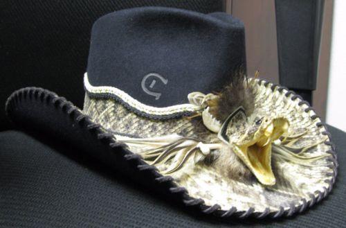 f10bf230d5343 Charlie-1-Horse-Rattlesnake-skin-Cowboy-Hat-Striking-Rattlesnake-head