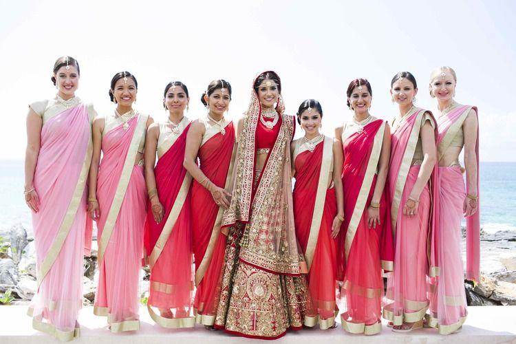 Parties, Bridesmaids, Guest of Wedding, etc. Sari Indian Pink Saree