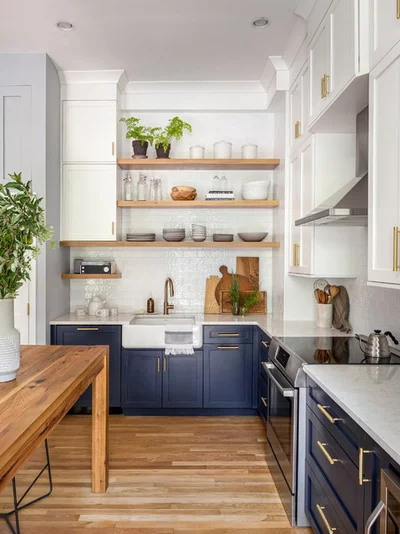 two tone cabinets and an open wood island in a sunny kitchen kitchen design navy kitchen on farmhouse kitchen navy island id=49483