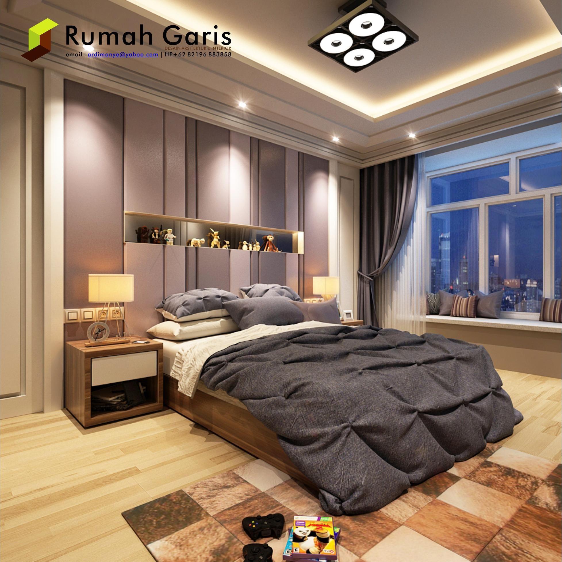 Kamar Tidur Dengan Desain Dinding Garis-garis | Desain ...