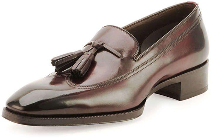 711dd00b04eda $1,810, Dark Brown Leather Tassel Loafers: Tom Ford Gianni Tassel Front  Loafer Cherry.