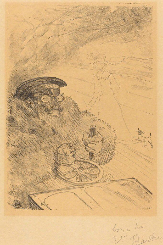 Henri de Toulouse-Lautrec  L'Automobiliste.  (The Motorist).  The driver is Lautrec's cousin, Gabriel Tapié de Céleyran. He and Paul Guibert (a close friend of Lautrec's) were among the first automobile drivers in Paris. Lautrec drew the image in 1898 and made it into a Lithograph (20-25 total made) to give as gifts.