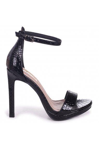 1d4b4ca764 Linzi Gabriella Black Lizard Patent Barely There Stiletto Heel With Slight  Platform - Linzi from Little Mistress UK