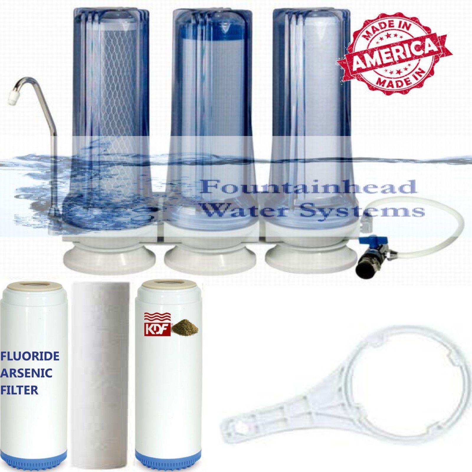 Fountainhead 3 stage countertop water filter fluoride carbon kdf