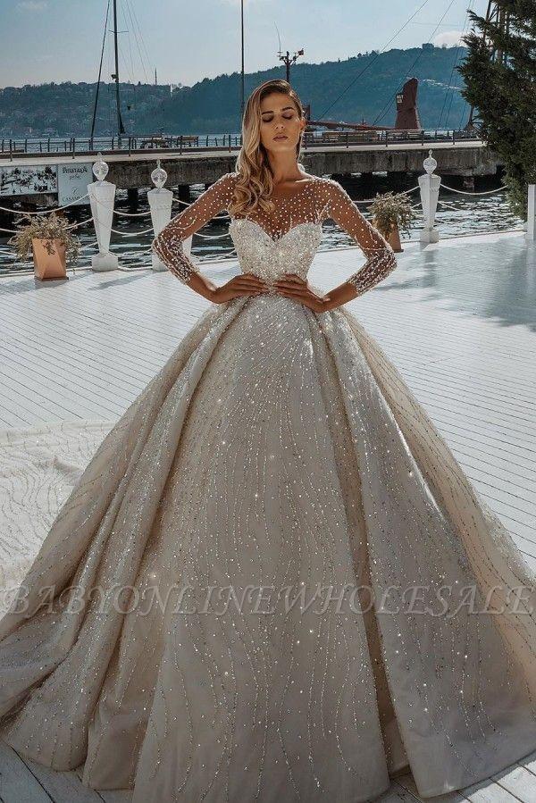 Champange Winter Sweetheart Ball Gown Wedding Dresses