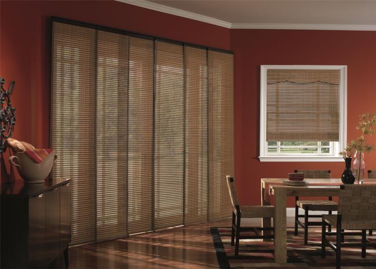 Door Woven Wood Sliding Panel Track Blinds Are Designed For Sliding