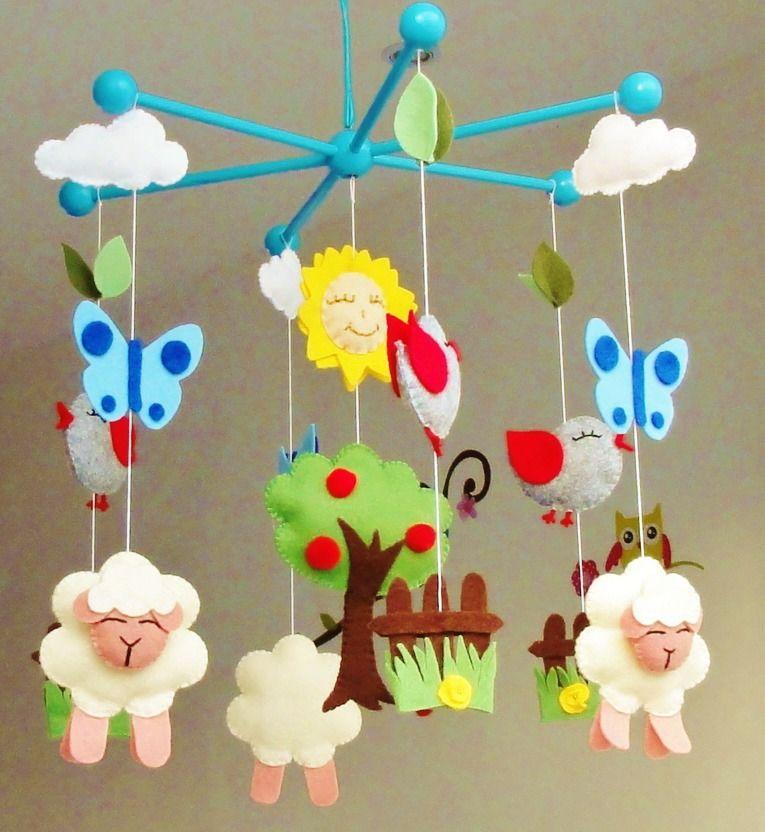 mobile b b d coration chambre d 39 enfant oiseaux moutons papillons nature printemps t. Black Bedroom Furniture Sets. Home Design Ideas