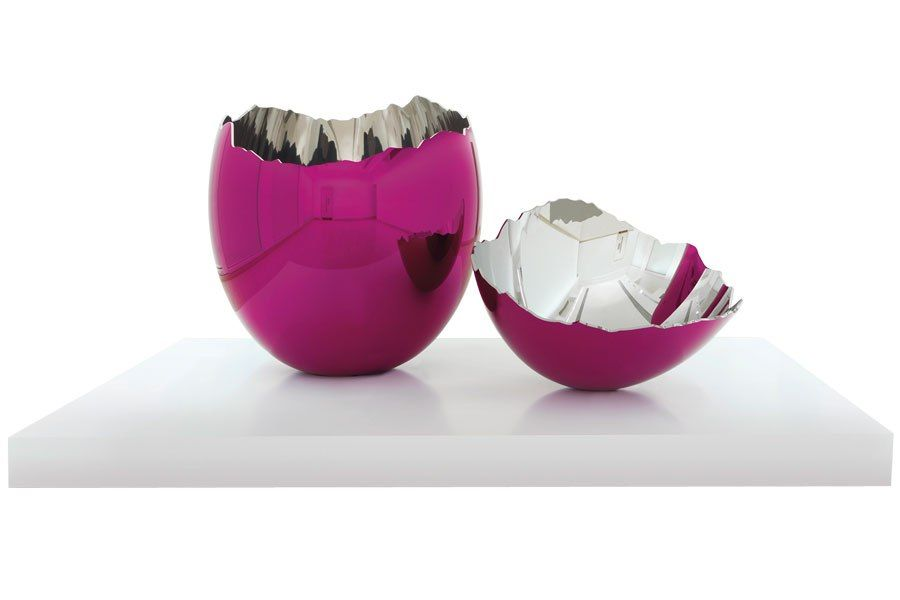 """CRACKED EGG (MAGENTA), 1994-2006, Jeff Koons. Stainless-steel sculpture 62.5""""-dia. Series of five, each in a different color. Fetched $20.6 million at Christie's in feb 2014."""
