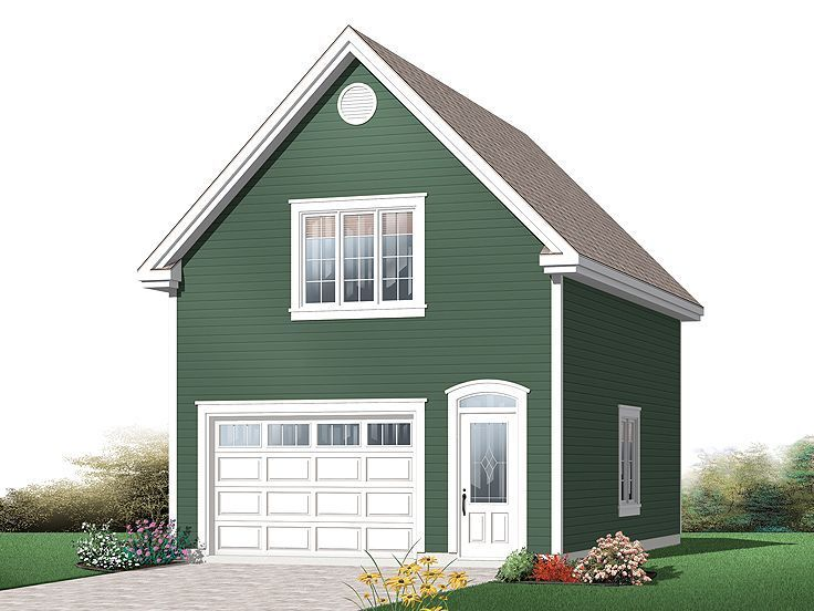 One car garage plans one car garage plan 028g 0045 for How much to build a garage with loft