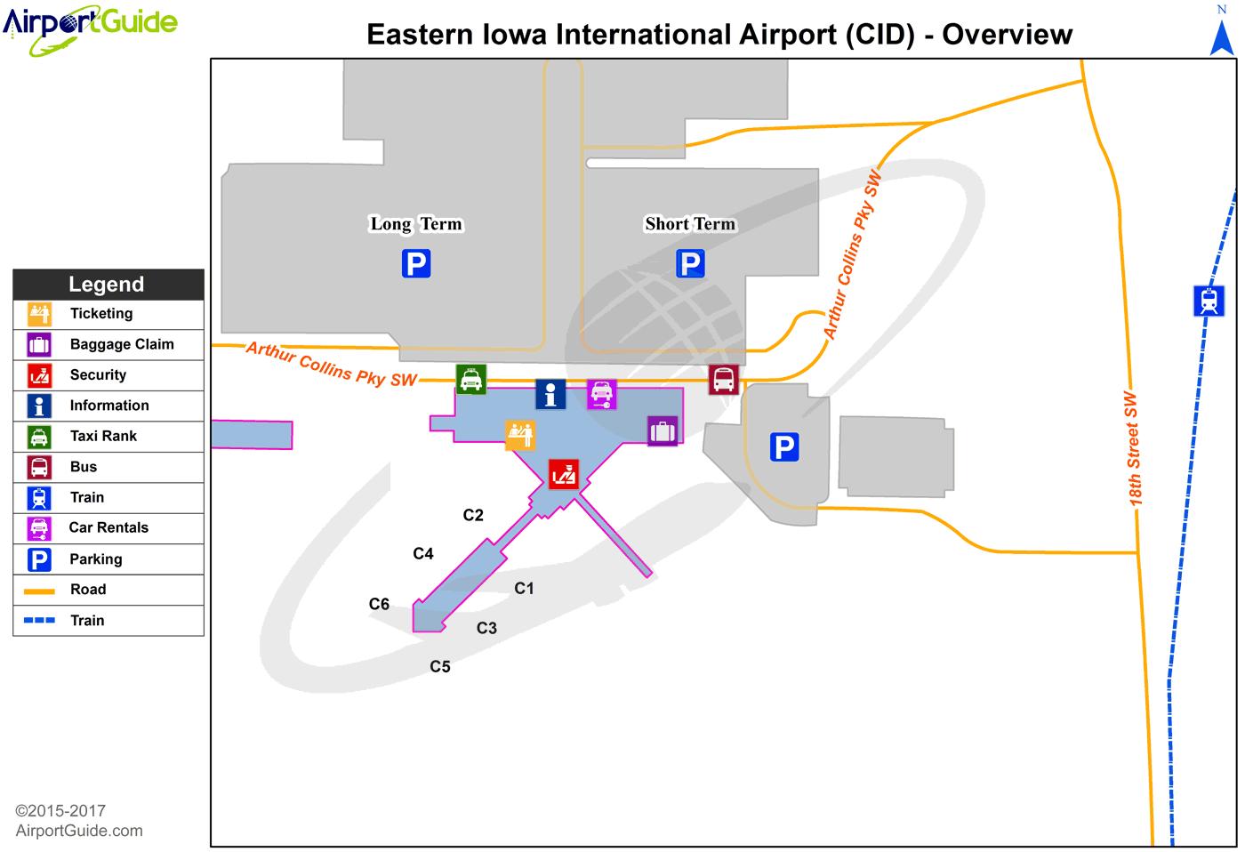Cedar Rapids - The Eastern Iowa (CID) Airport Terminal Map ... on