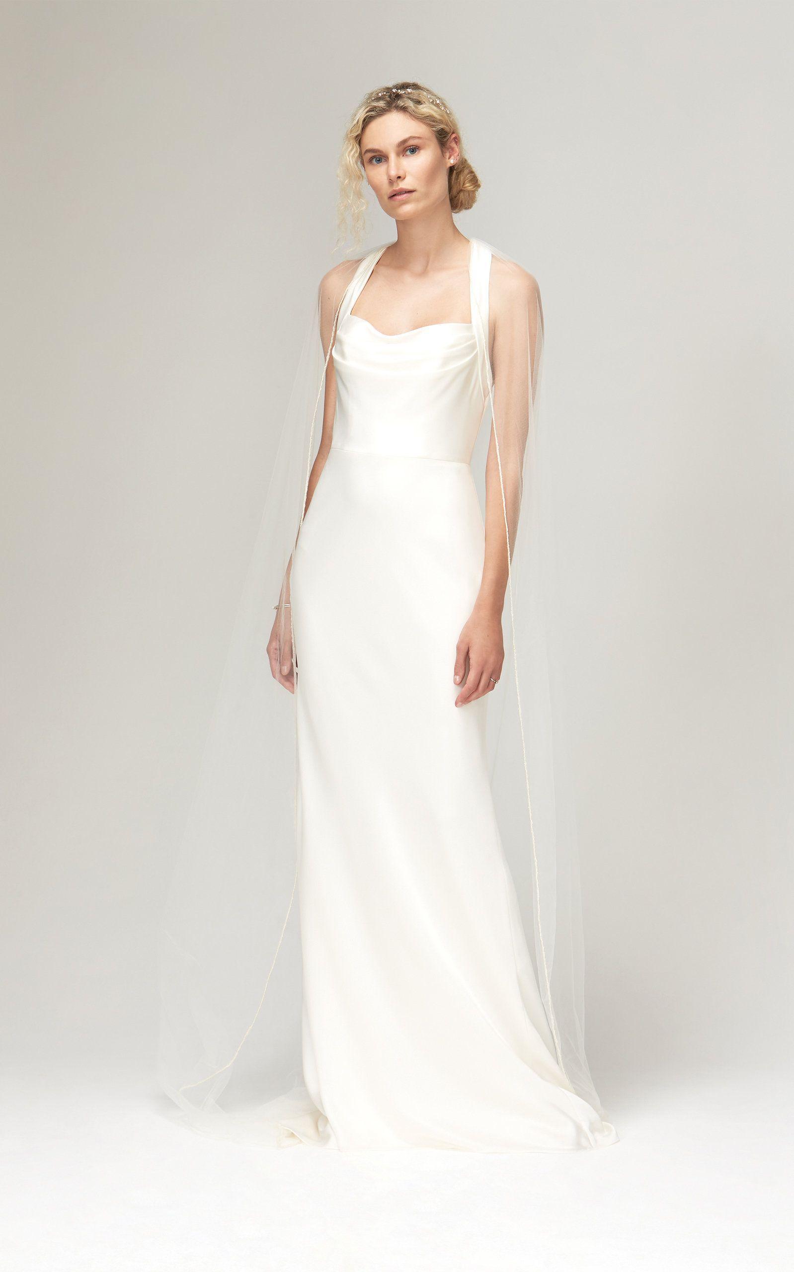 Astrid Cowl Neck Halter Gown With Train By Savannah Miller For Preorder On Moda Operandi Bohemian Wedding Dresses Sheath Wedding Dress Bohemian Wedding Gown