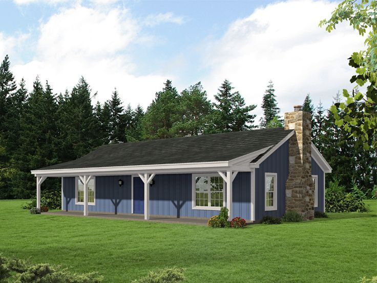 062H0168 Small Country House Plan; 2 Bedrooms, 1 Bath