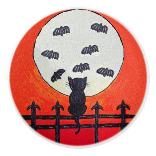 Black Cat Fence Moon Bats Ceramic Knob 2017 Halloween Ideas - halloween decorations black cat