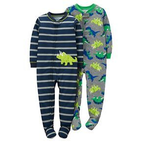 Toddler Boys  2 Pack Dinosaur Stripe Poly Footed Sleeper Set Navy Grey -  Just One You™Made by Carter s® 04e3ccff3