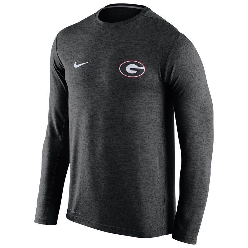 Georgia Bulldogs Nike Stadium Dri-FIT Touch Long Sleeve Top - Heather Black