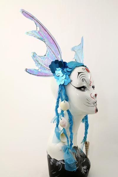 Iridescent Blue Sequin Mermaid Fin Costume Headband   Costumes ...