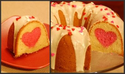 The heart cupcakes adapted to a Bundt cake! Adapted from madewithloveby.me...Making this for Valentines