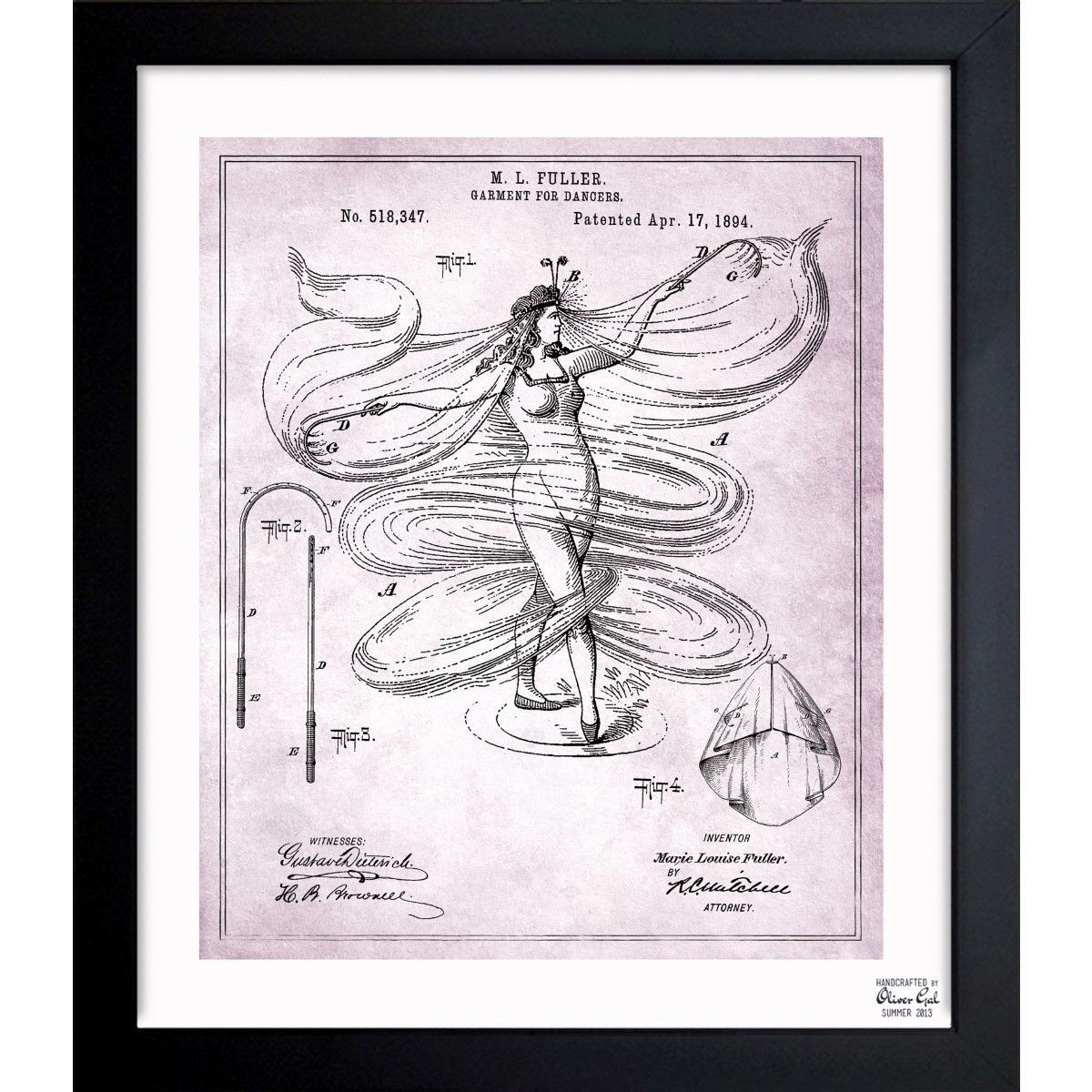 Oliver gal garment for dancer 1894 framed blueprint art products oliver gal garment for dancer 1894 framed blueprint art malvernweather Gallery