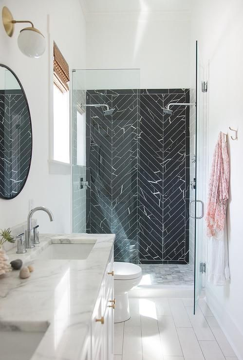 Black Marble Herringbone Shower Tiles Transitional