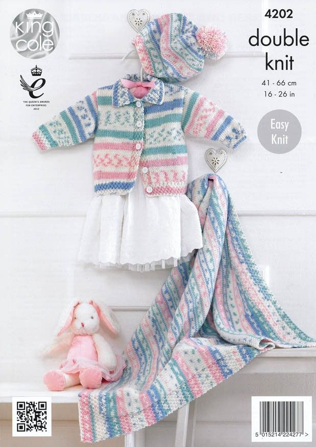 Babies\' Cardigan, Blanket and Beret in King Cole Cherish DK (4202 ...