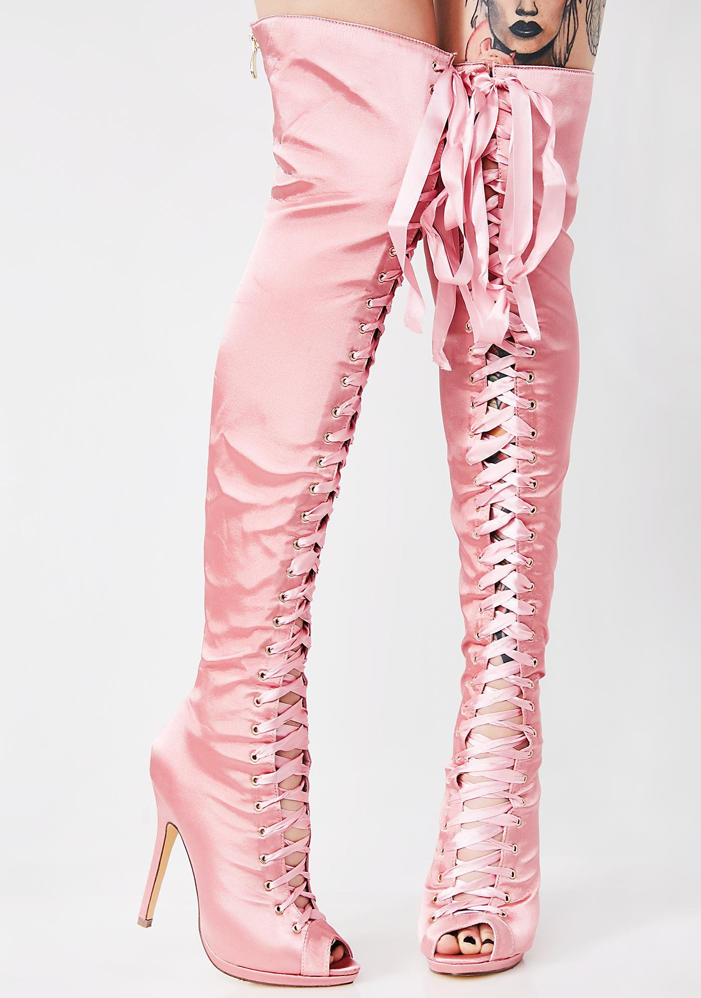 65dd4f1074e83 Playful Love Thigh High Boots cuz you're ready to play for it all. These  satin babies have peep toes, lace-ups for dayz on the front and zip  closures.