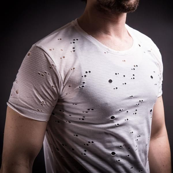 SAW Men Full Of Holes Destroyed T-shirt with Tank Top - White ...