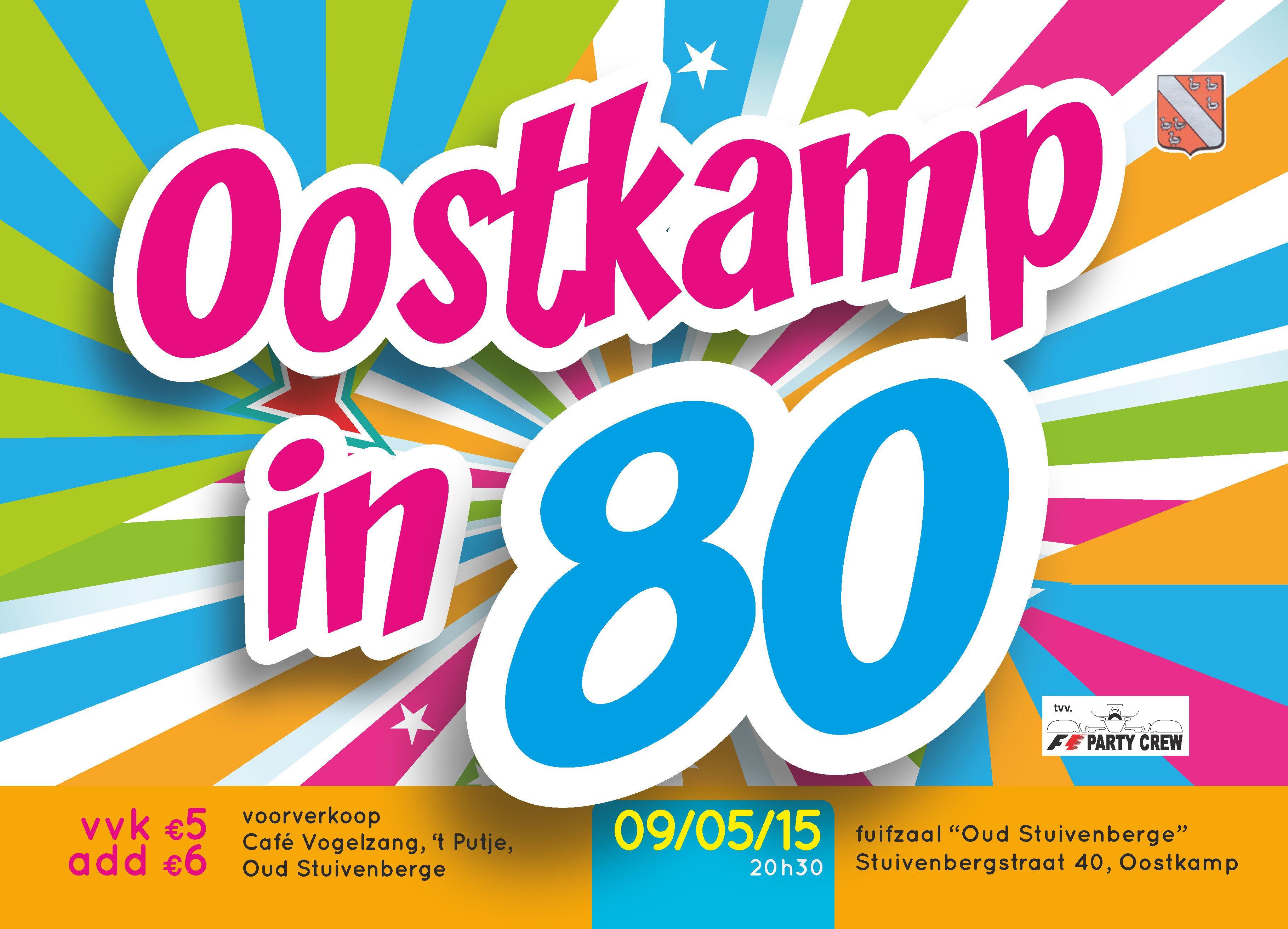 Fuif Oostkamp in 80 - ontwerp en drukken flyer.