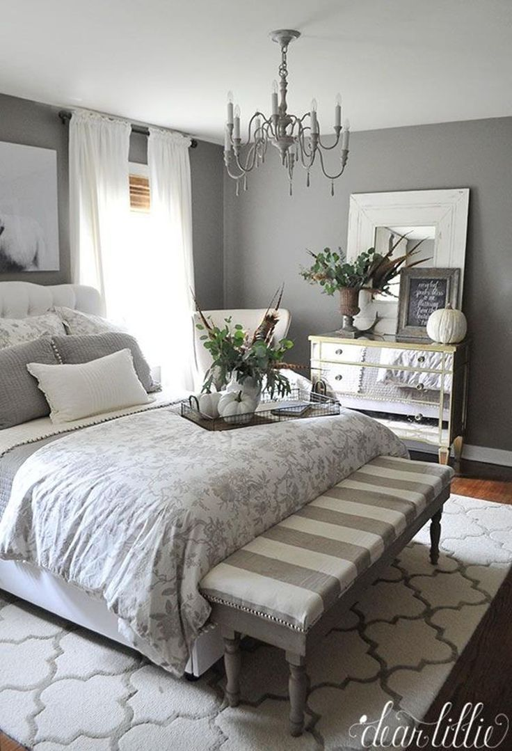 39 Perfect Farmhouse Bedroom with Grey Paint Color ...