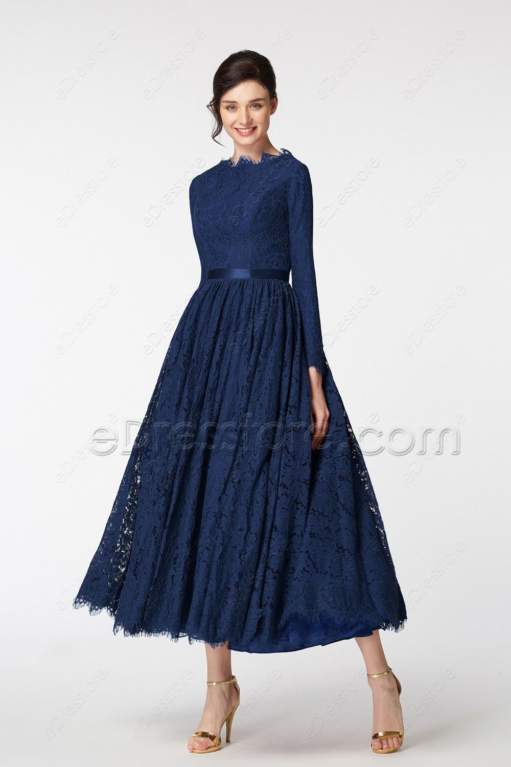 Vintage Modest Mother Of The Bride Dress Long Sleeves Navy Blue Plus Size Long Sleeve Dress Formal Long Black Dress Formal Long Sleeve Lace Dress