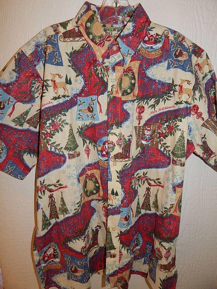 Reyn Spooner Mele Kalikimaka 2010 Christmas Print Shirt Medium Hawaiian Excellnt #ReynSpooner #ButtonFront