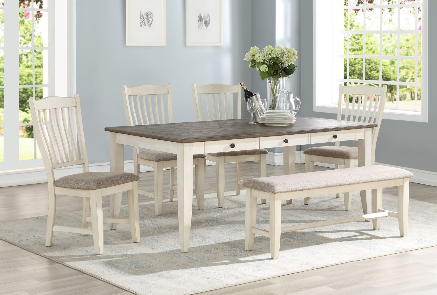 Columbia Leg Table With 4 Chairs And Dining Hom Furniture