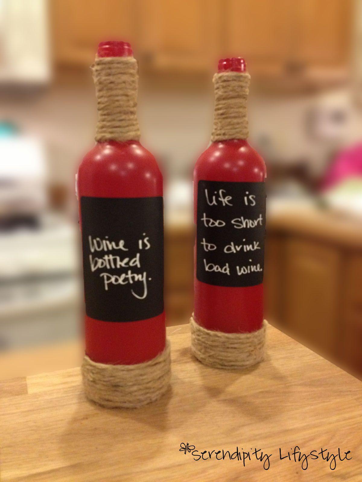 Red Wine Bottles Spray Painted With Chalk Board Label Wine Bottle Crafts Bottles Decoration Wine Cork Diy