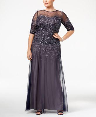 a932f6b9150c Adrianna Papell Plus Size Elbow-Sleeve Beaded Gown | macys.com ...