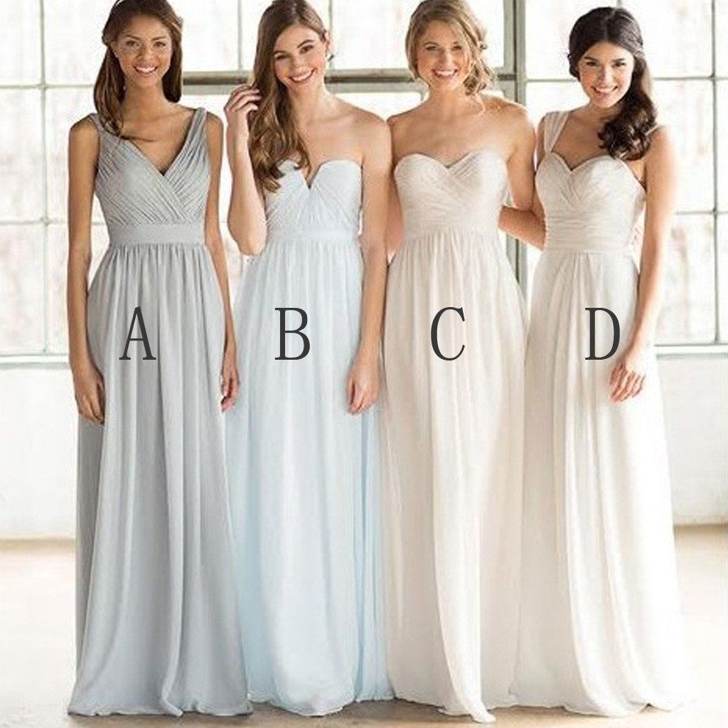 Mismatched cheap simple formal chiffon floorlength a line maxi