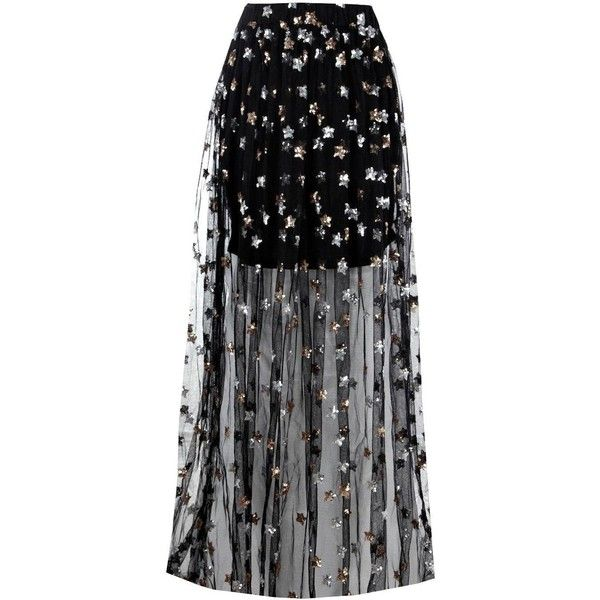 4295d642e445 Boohoo Blaire Sequin Star Mesh Overlay Maxi Skirt (51 BAM) ❤ liked on  Polyvore featuring skirts, pleated mini skirt, midi skirt, midi maxi skirt,  ...
