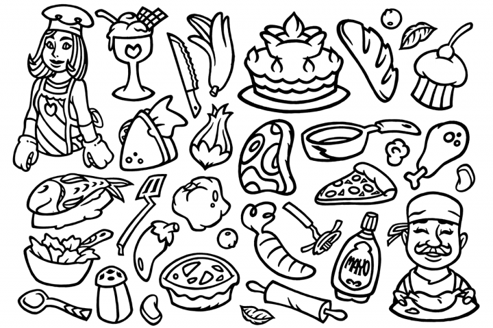 30 Cooking Doodles Clipart By Typia Nesia Svg Esp Psd Ai