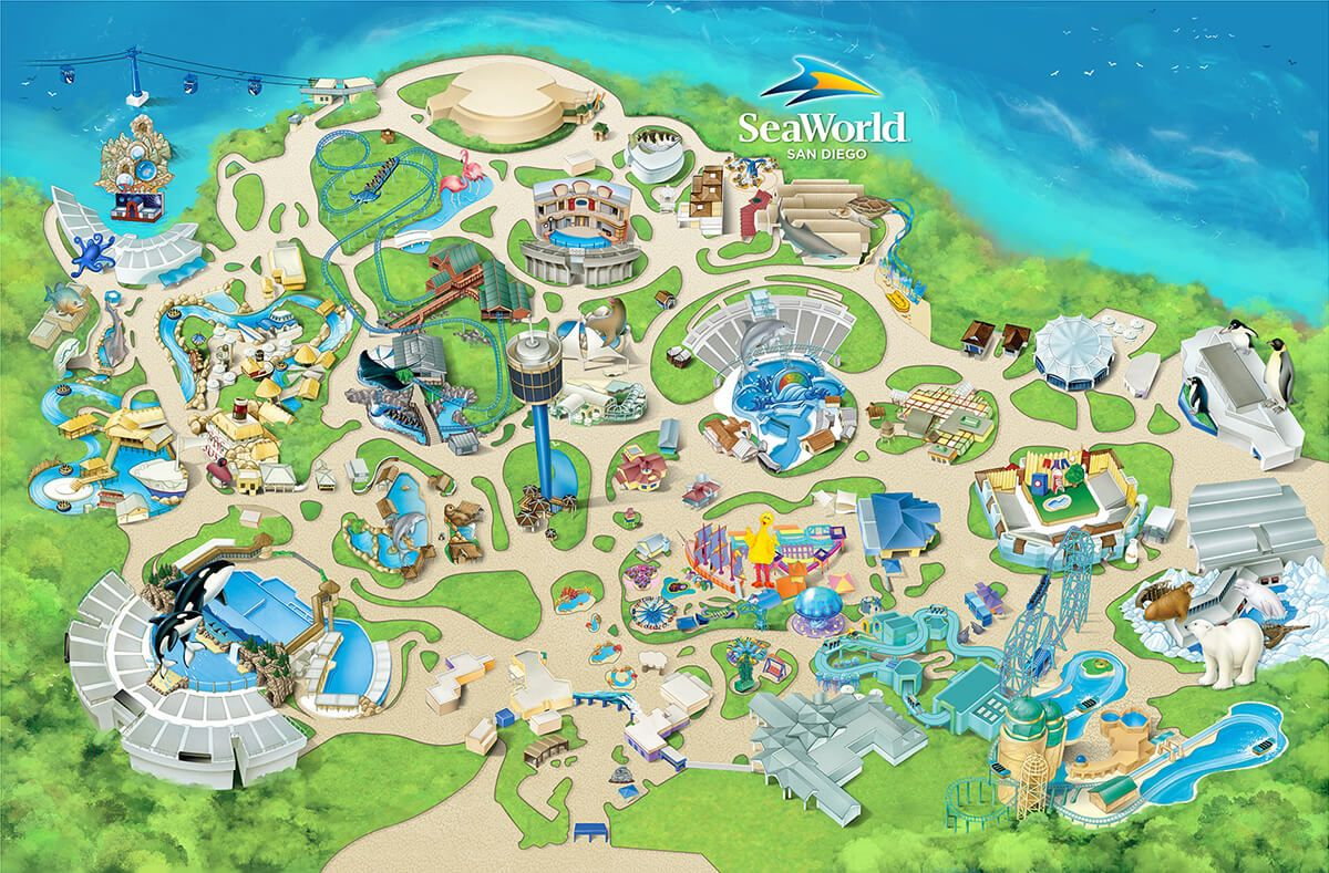 Theme Park Attractions Map Seaworld San Diego Theme Park Map